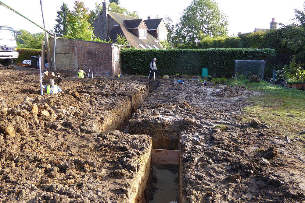 Trench foundations. Just one of the many local groundworks services we offer in Petworth and West Sussex